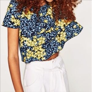Zara NWT Tropical Print Ruffled Crop Top